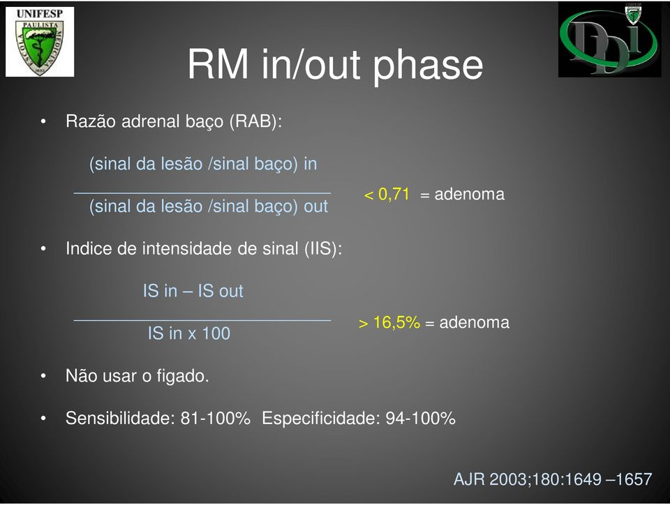 de sinal (IIS): IS in IS out IS in x 100 > 16,5% = adenoma Não usar o
