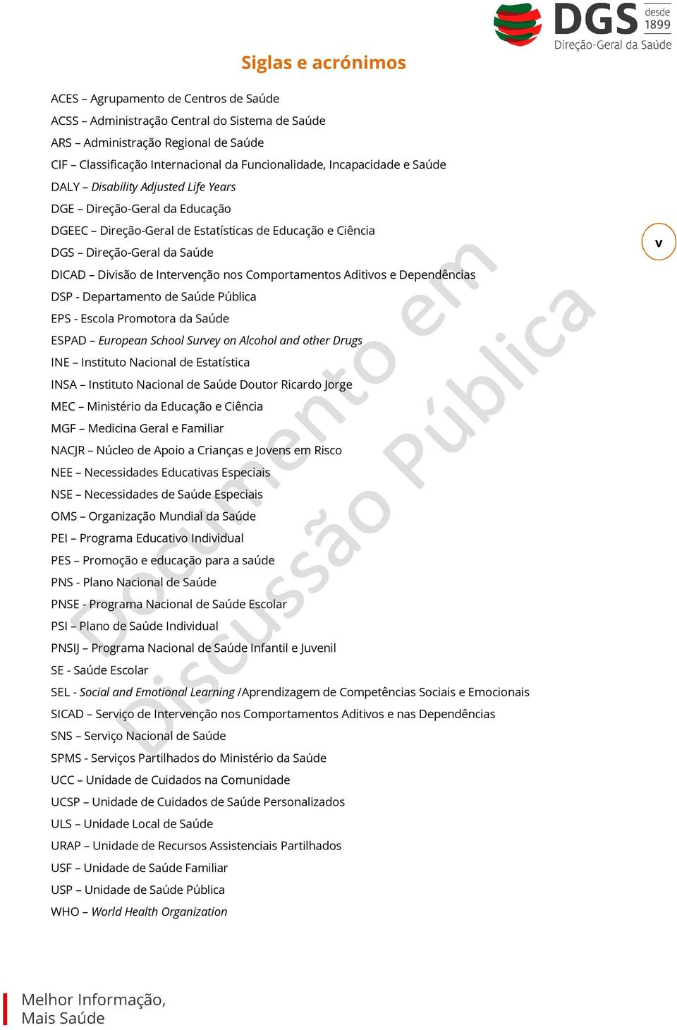 Aditivs e Dependências DSP - Departament de Saúde Pública EPS - Escla Prmtra da Saúde ESPAD Eurpean Schl Survey n Alchl and ther Drugs INE Institut Nacinal de Estatística INSA Institut Nacinal de