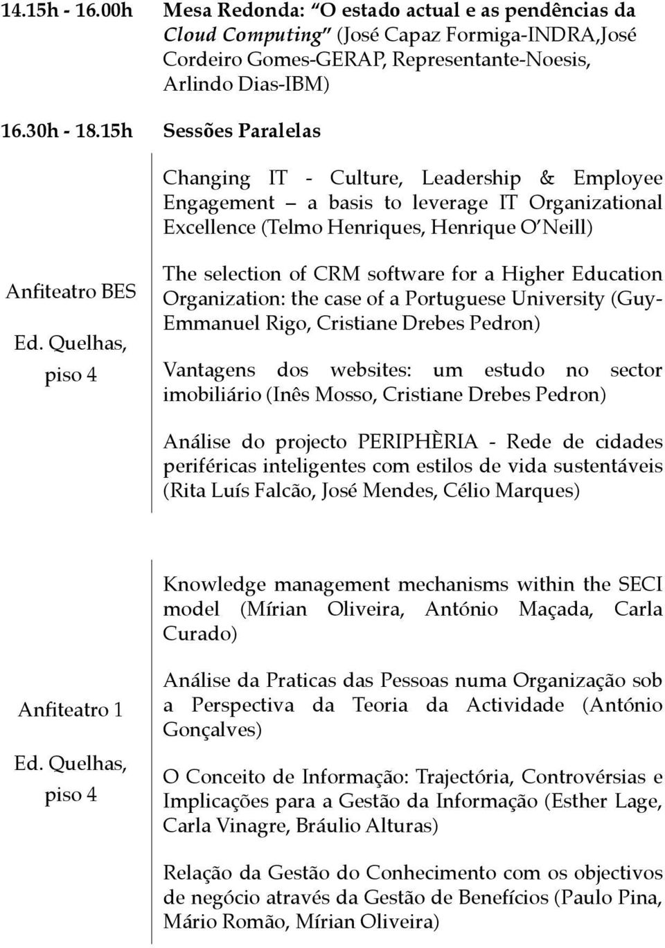 software for a Higher Education Organization: the case of a Portuguese University (Guy- Emmanuel Rigo, Cristiane Drebes Pedron) Vantagens dos websites: um estudo no sector imobiliário (Inês Mosso,