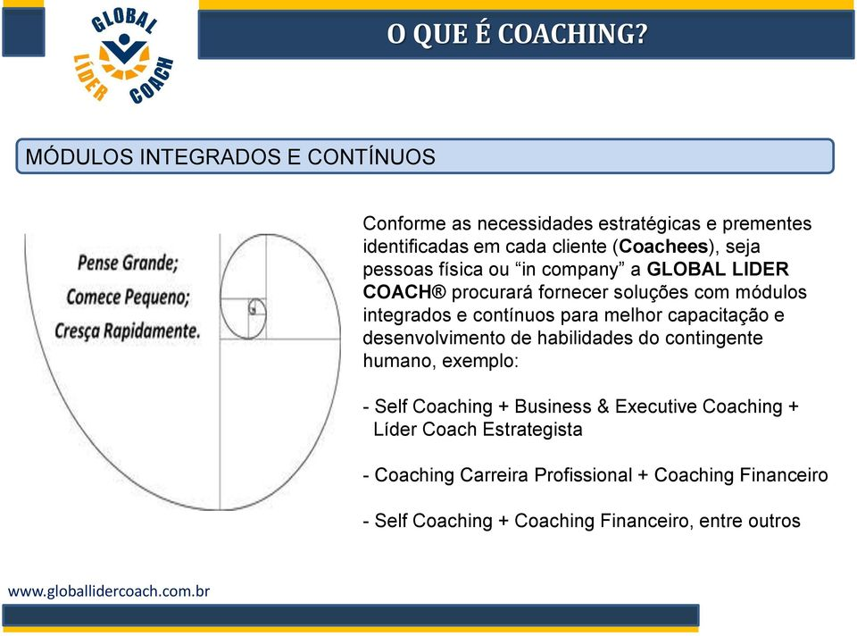 capacitação e desenvolvimento de habilidades do contingente humano, exemplo: - Self Coaching + Business & Executive Coaching +