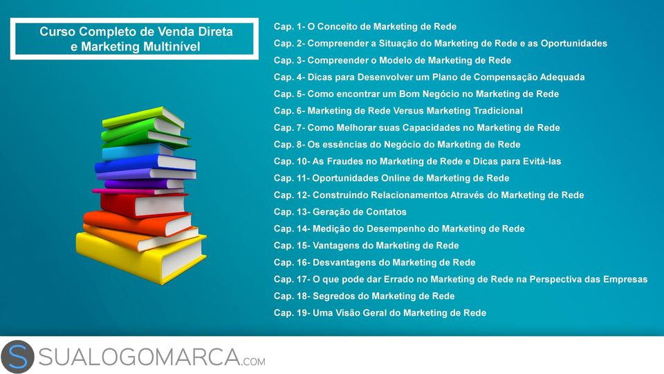 6- Marketing de Rede Versus Marketing Tradicional Cap. 7- Como Melhorar suas Capacidades no Marketing de Rede Cap. 8- Os essências do Negócio do Marketing de Rede Cap.