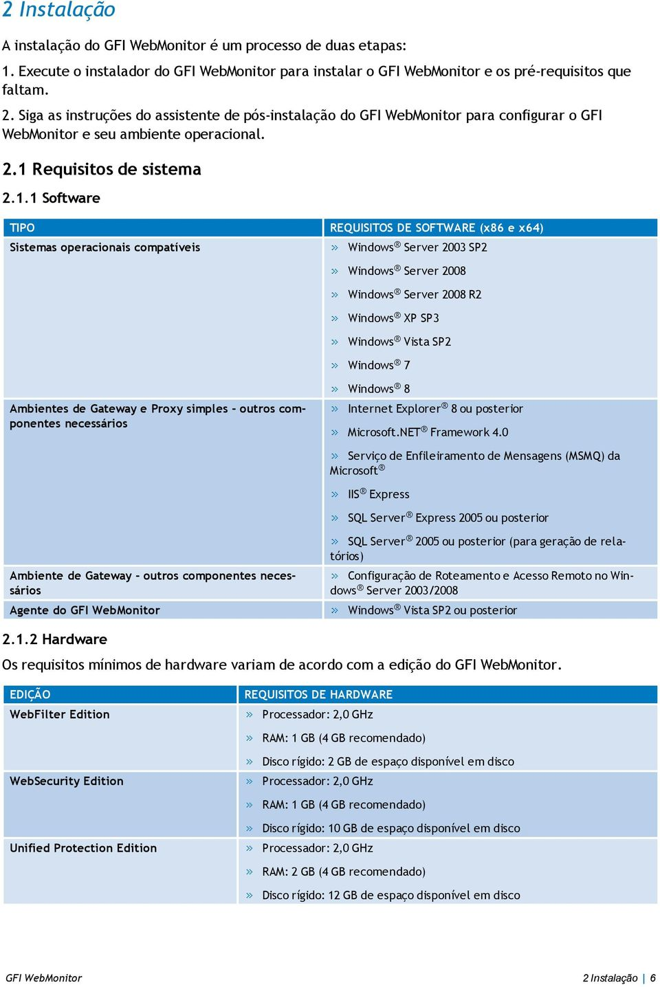 Requisitos de sistema 2.1.