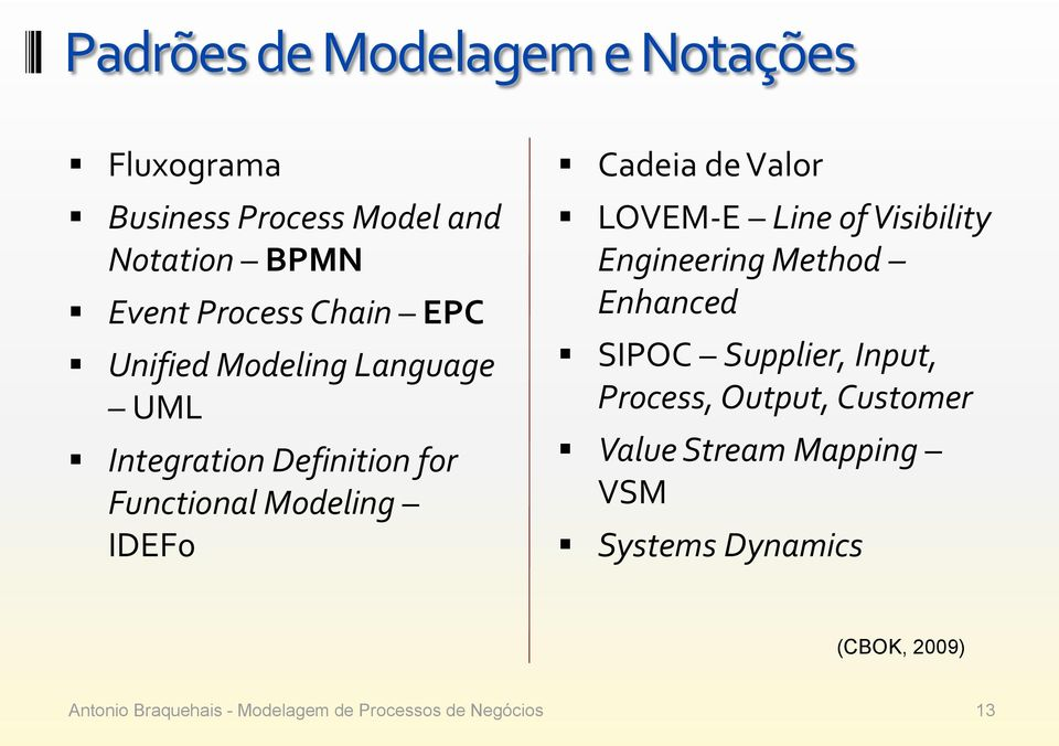 Modeling IDEF0 Cadeia de Valor LOVEM-E Line of Visibility Engineering Method Enhanced SIPOC