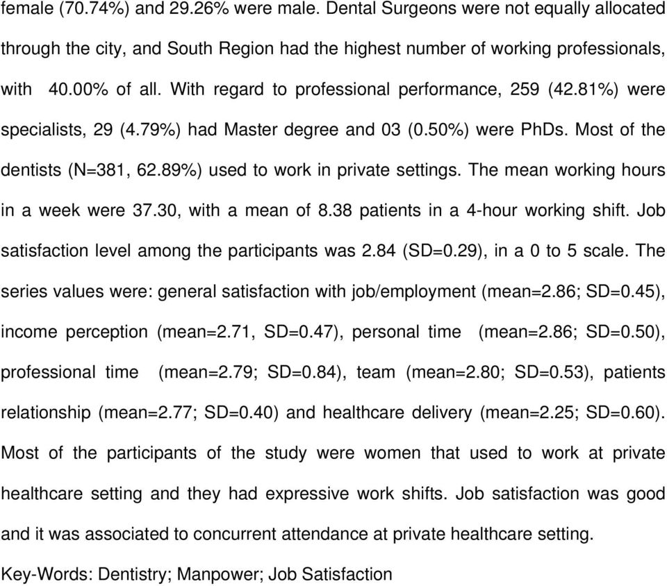 The mean working hours in a week were 37.30, with a mean of 8.38 patients in a 4-hour working shift. Job satisfaction level among the participants was 2.84 (SD=0.29), in a 0 to 5 scale.