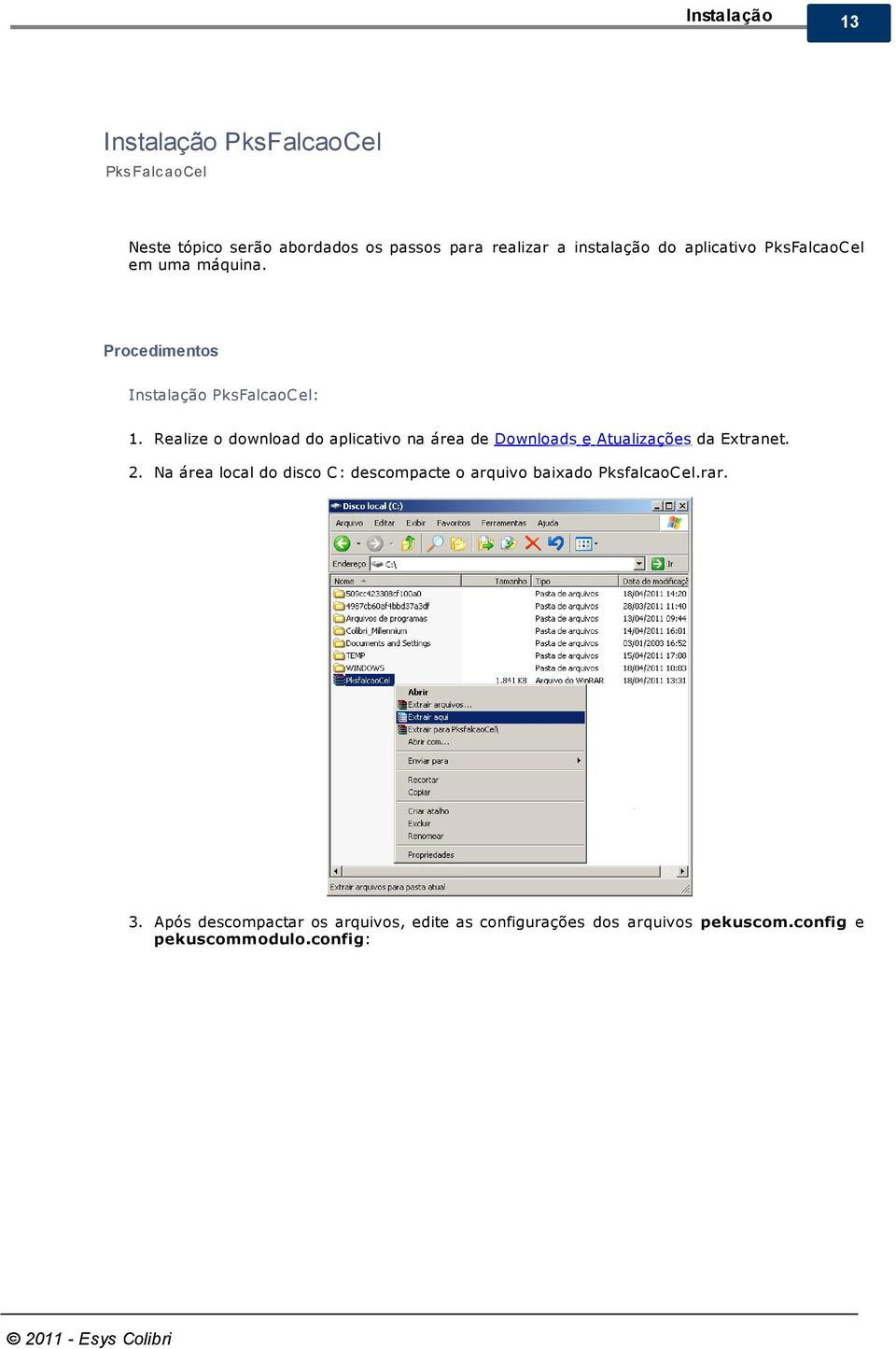 Realize o download do aplicativo na área de Downloads e Atualizações da Extranet. 2.