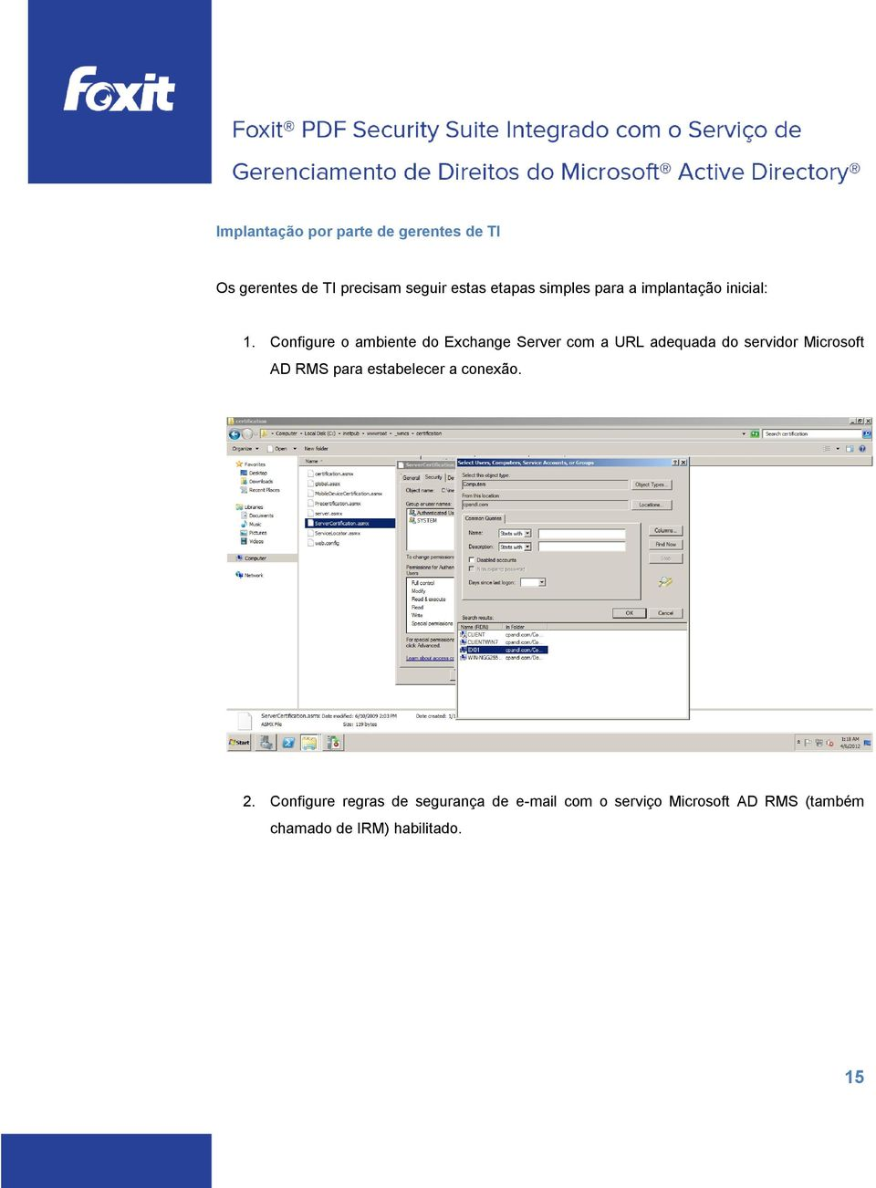 Configure o ambiente do Exchange Server com a URL adequada do servidor Microsoft AD RMS