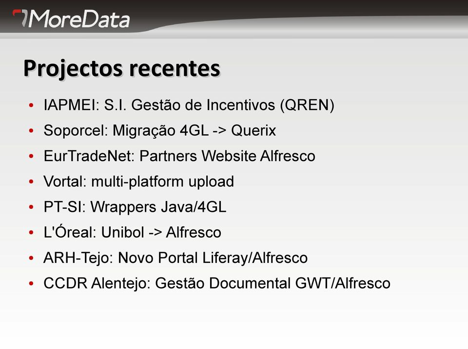 EurTradeNet: Partners Website Alfresco Vortal: multi-platform upload