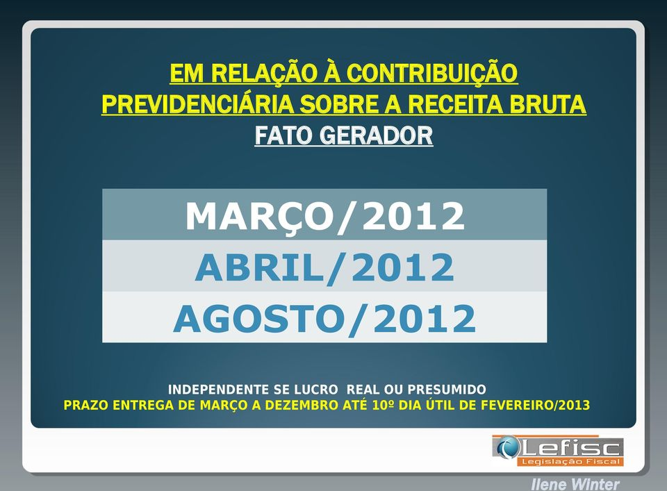 AGOSTO/2012 INDEPENDENTE SE LUCRO REAL OU PRESUMIDO