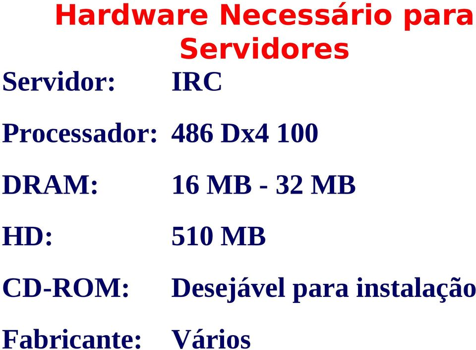 DRAM: HD: CD-ROM: Fabricante: 16 MB -