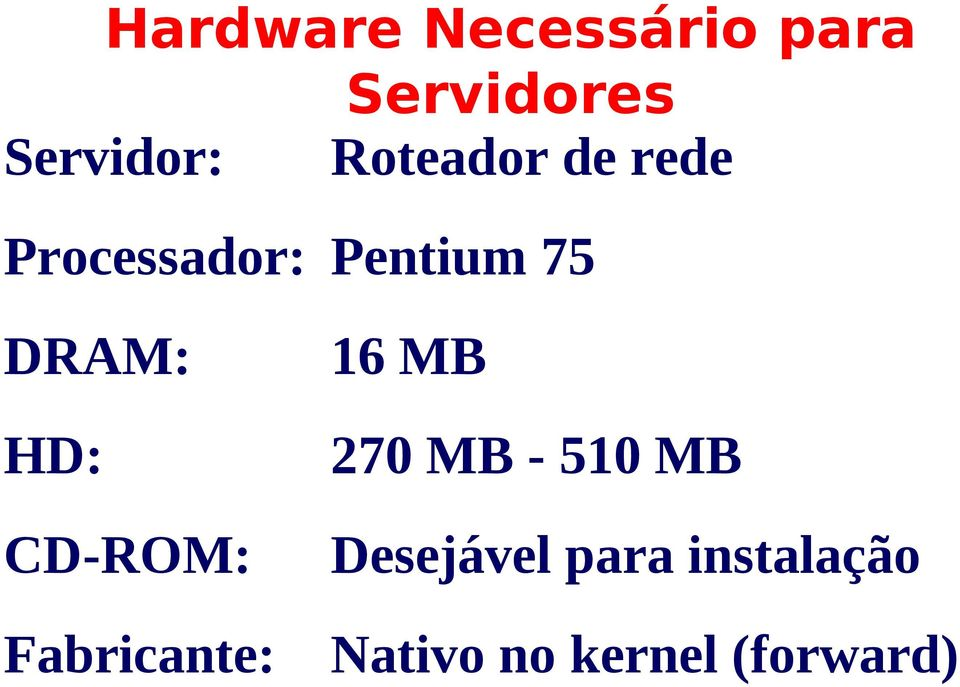 HD: CD-ROM: Fabricante: 16 MB 270 MB - 510 MB