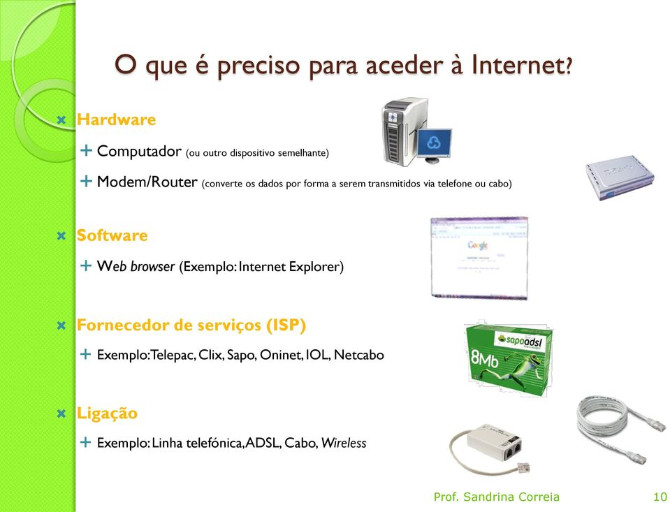 serem transmitidos via telefone ou cabo) Software Web browser (Exemplo: Internet Explorer)