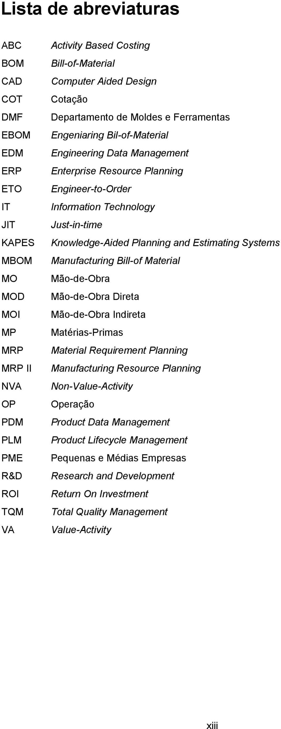 Knowledge-Aided Planning and Estimating Systems Manufacturing Bill-of Material Mão-de-Obra Mão-de-Obra Direta Mão-de-Obra Indireta Matérias-Primas Material Requirement Planning Manufacturing