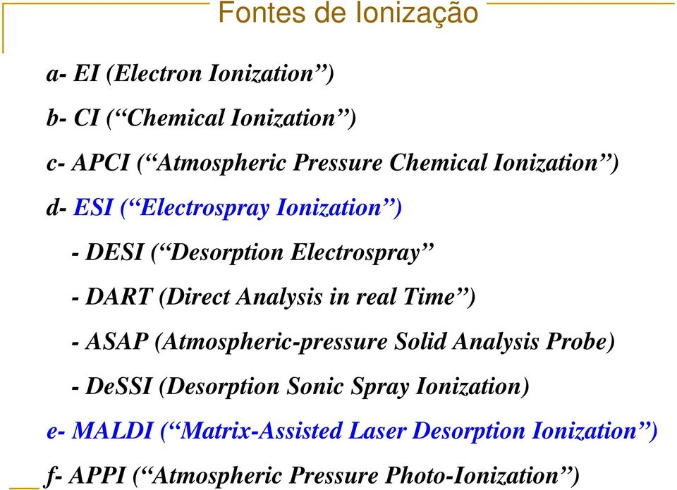 Analysis in real Time ) - ASAP (Atmospheric-pressure Solid Analysis Probe) - DeSSI (Desorption Sonic Spray