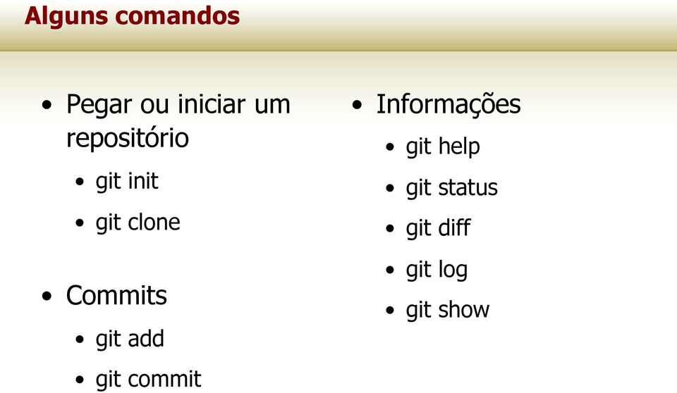 Commits git add git commit