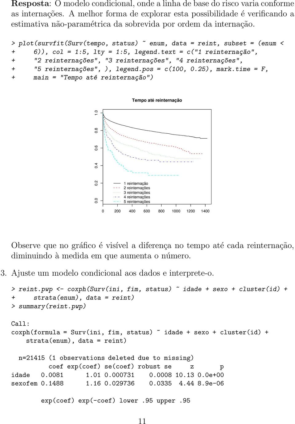 > plot(survfit(surv(tempo, status) ~ enum, data = reint, subset = (enum < + 6)), col = 1:5, lty = 1:5, legend.
