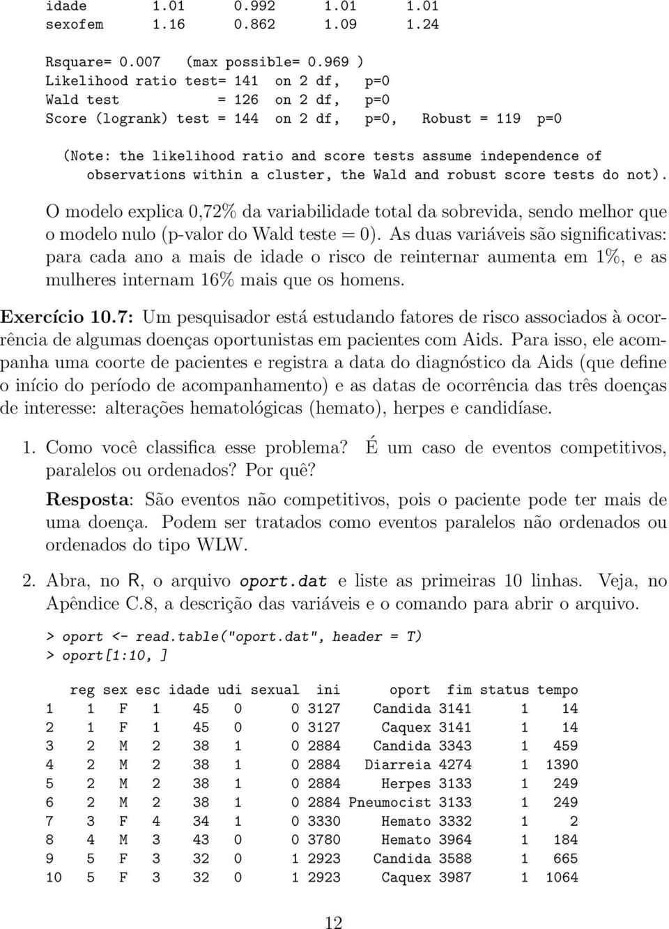 observations within a cluster, the Wald and robust score tests do not). O modelo explica 0,72% da variabilidade total da sobrevida, sendo melhor que o modelo nulo (p-valor do Wald teste = 0).