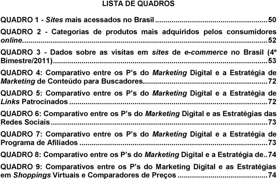 .. 53 QUADRO 4: Comparativo entre os P s do Marketing Digital e a Estratégia de Marketing de Conteúdo para Buscadores.