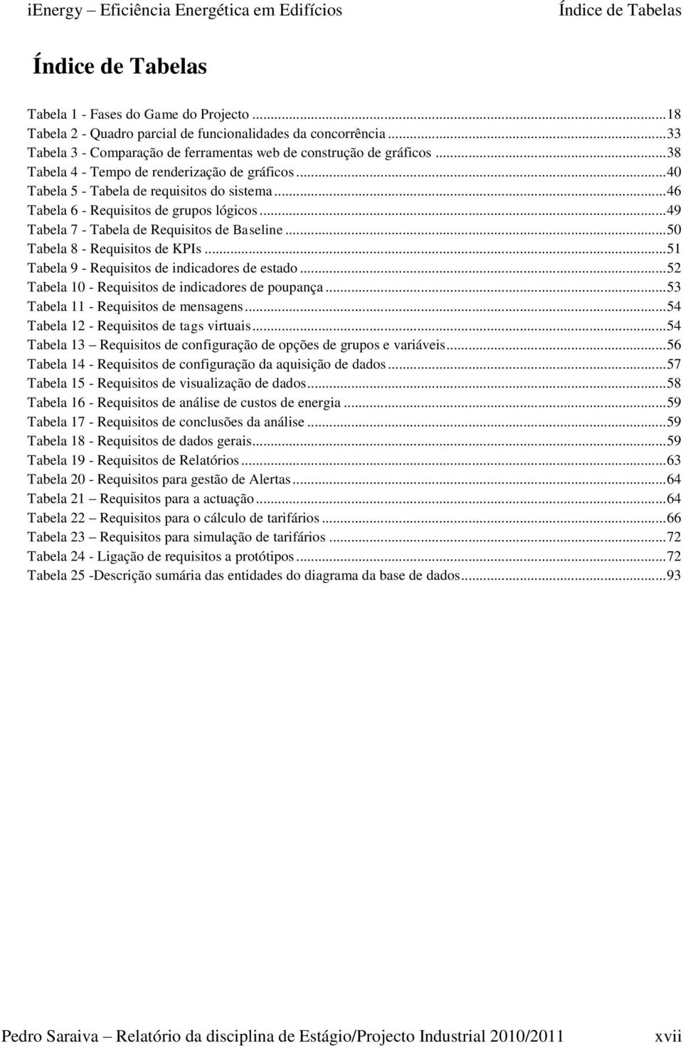 .. 46 Tabela 6 - Requisitos de grupos lógicos... 49 Tabela 7 - Tabela de Requisitos de Baseline... 50 Tabela 8 - Requisitos de KPIs... 51 Tabela 9 - Requisitos de indicadores de estado.