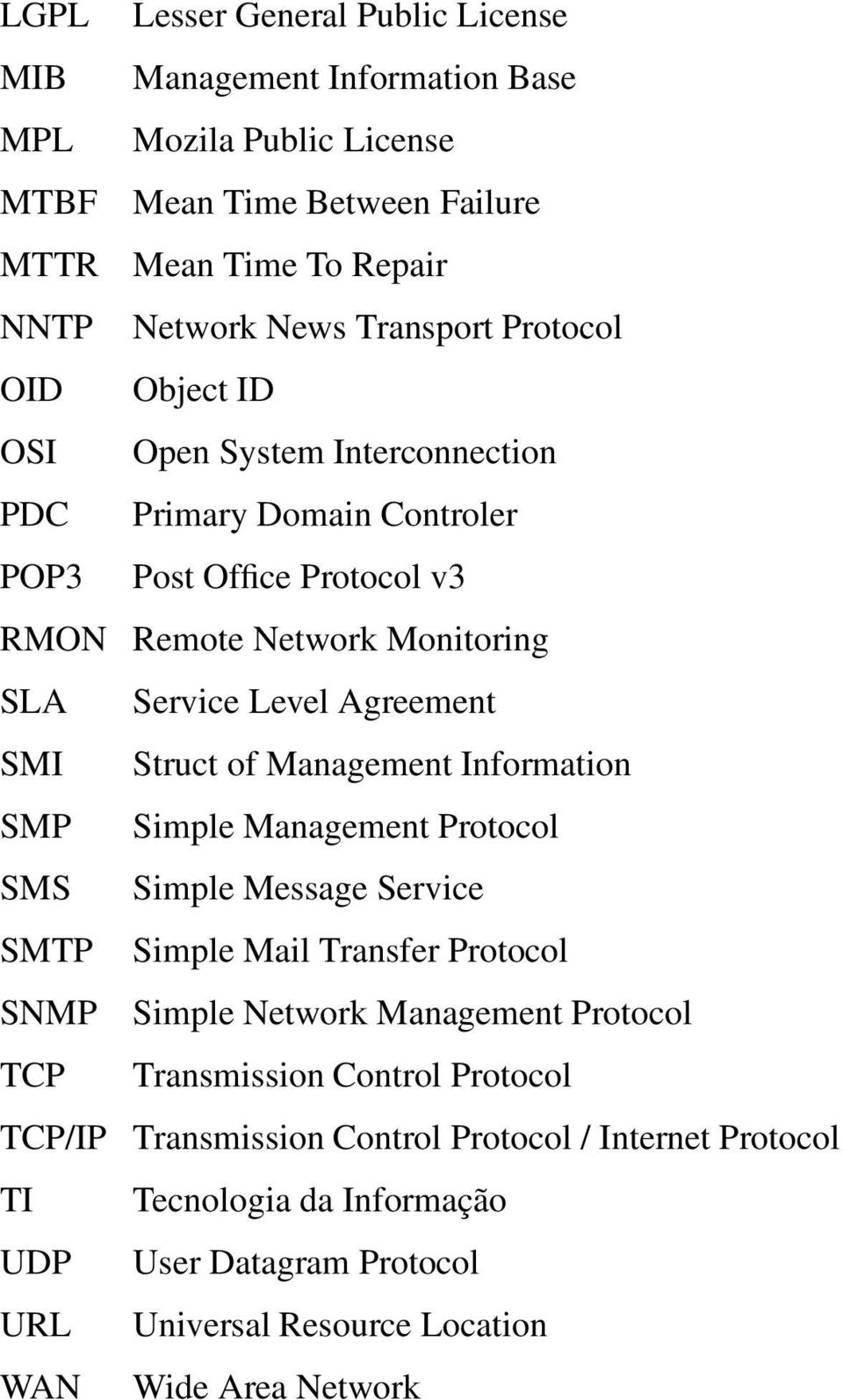 Struct of Management Information SMP Simple Management Protocol SMS Simple Message Service SMTP Simple Mail Transfer Protocol SNMP Simple Network Management Protocol TCP