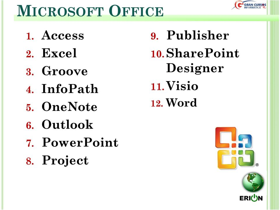Outlook 7. PowerPoint 8. Project 9.
