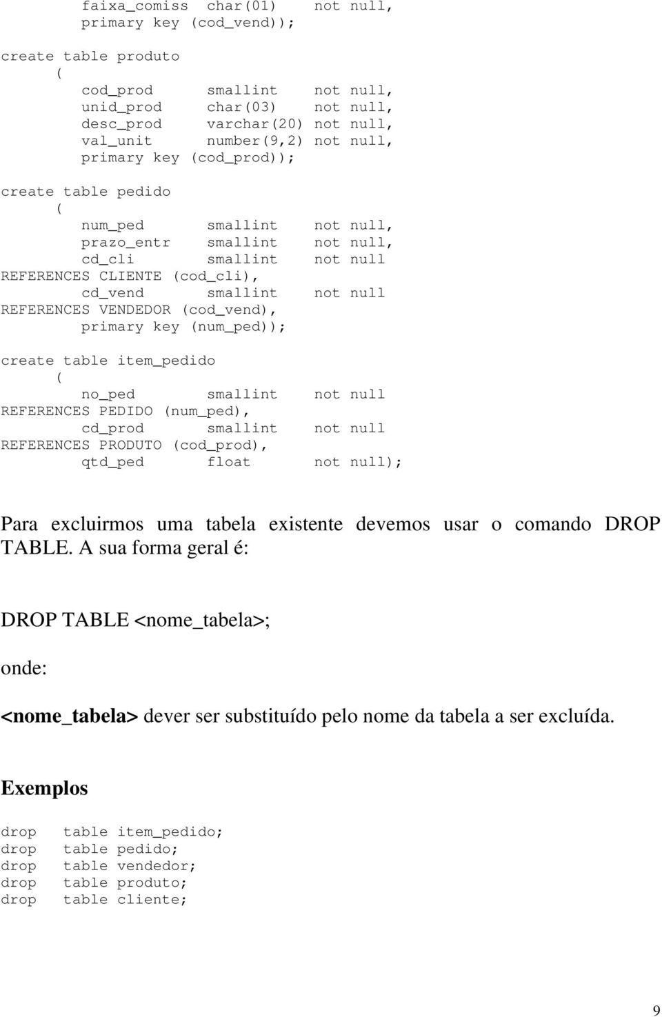 VENDEDOR (cod_vend), primary key (num_ped)); create table item_pedido ( no_ped smallint not null REFERENCES PEDIDO (num_ped), cd_prod smallint not null REFERENCES PRODUTO (cod_prod), qtd_ped float