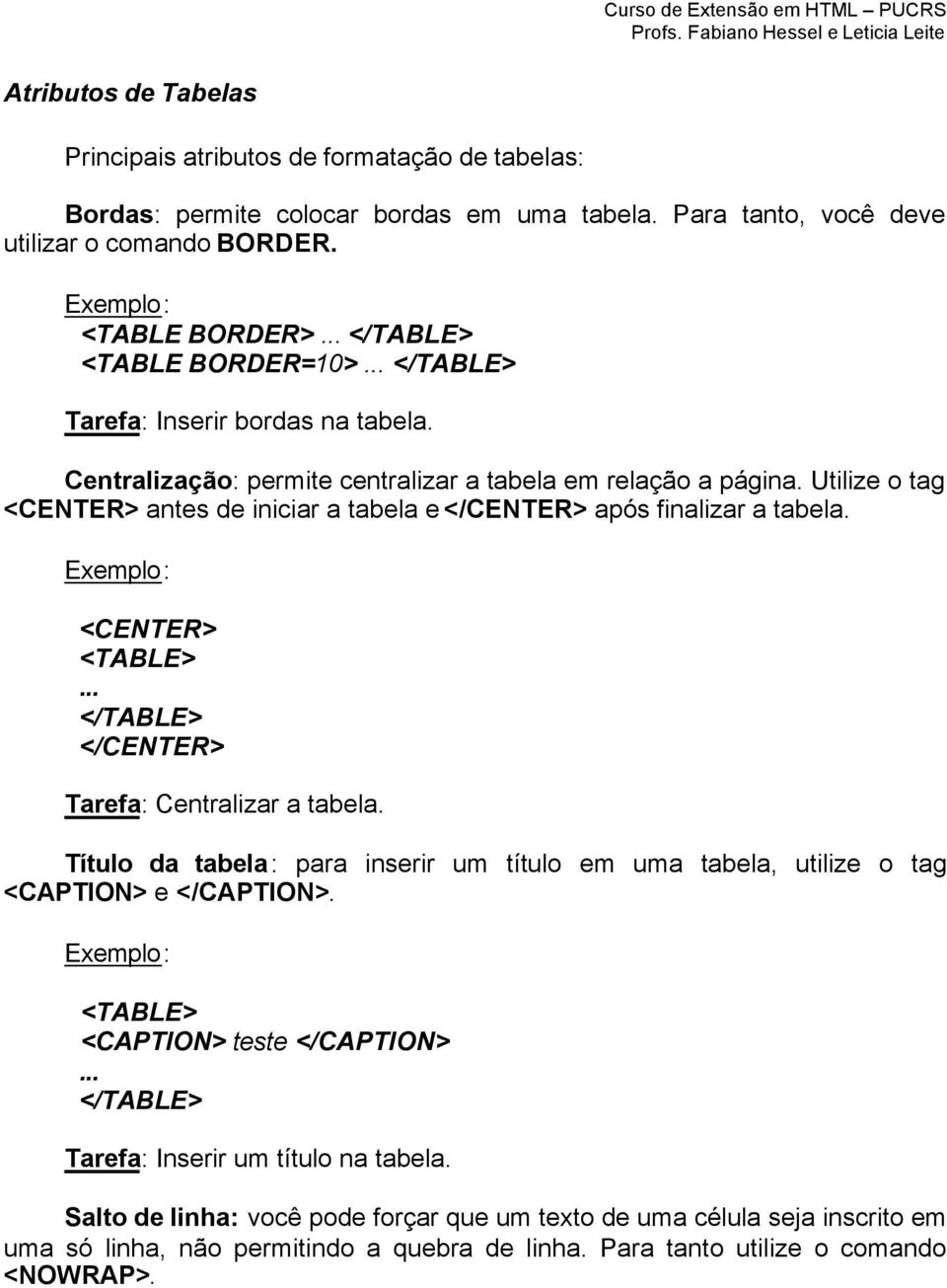 4 caracter sticas gerais das tabelas do html pdf for Table th nowrap