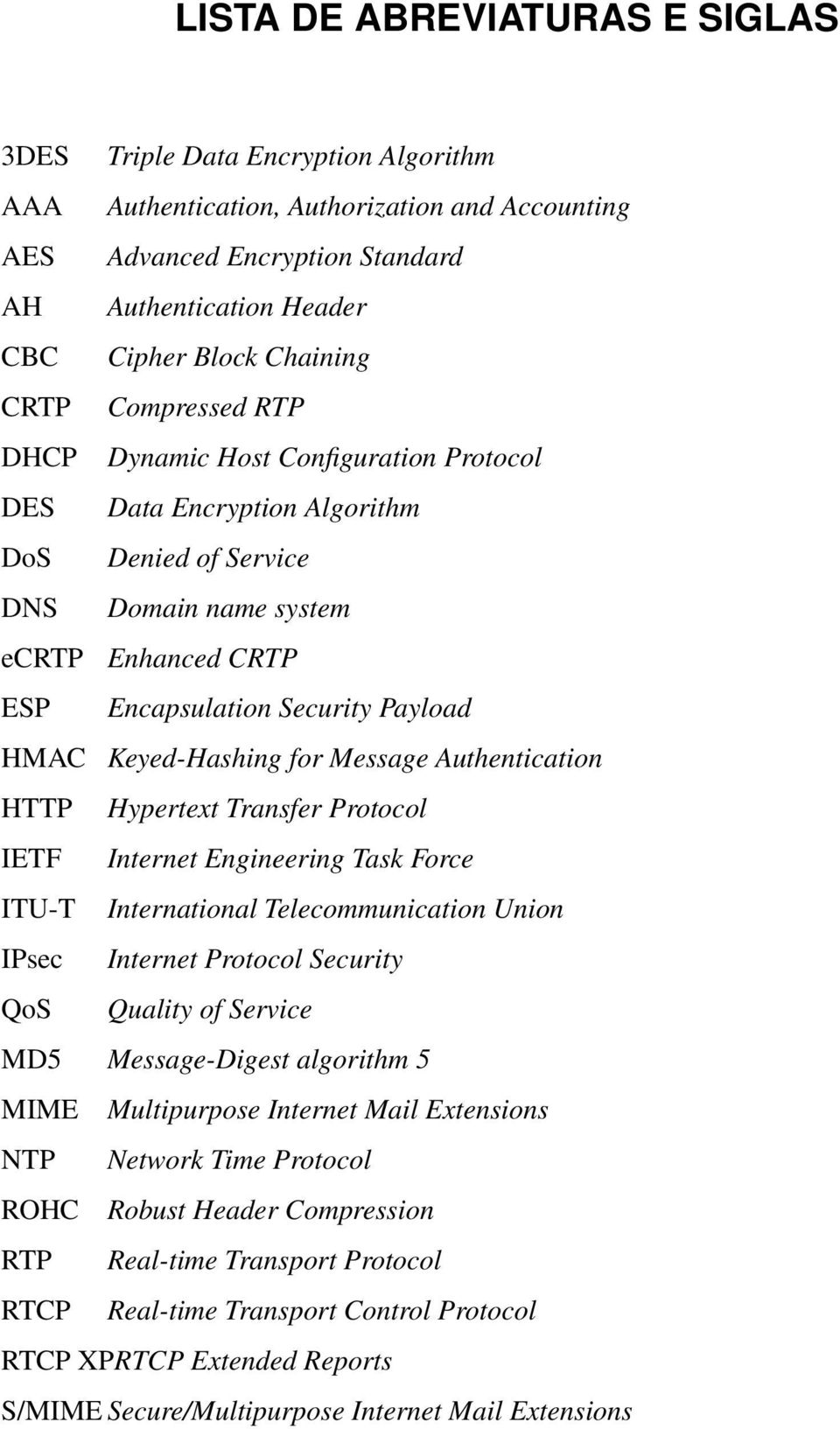 HMAC Keyed-Hashing for Message Authentication HTTP Hypertext Transfer Protocol IETF Internet Engineering Task Force ITU-T International Telecommunication Union IPsec Internet Protocol Security QoS