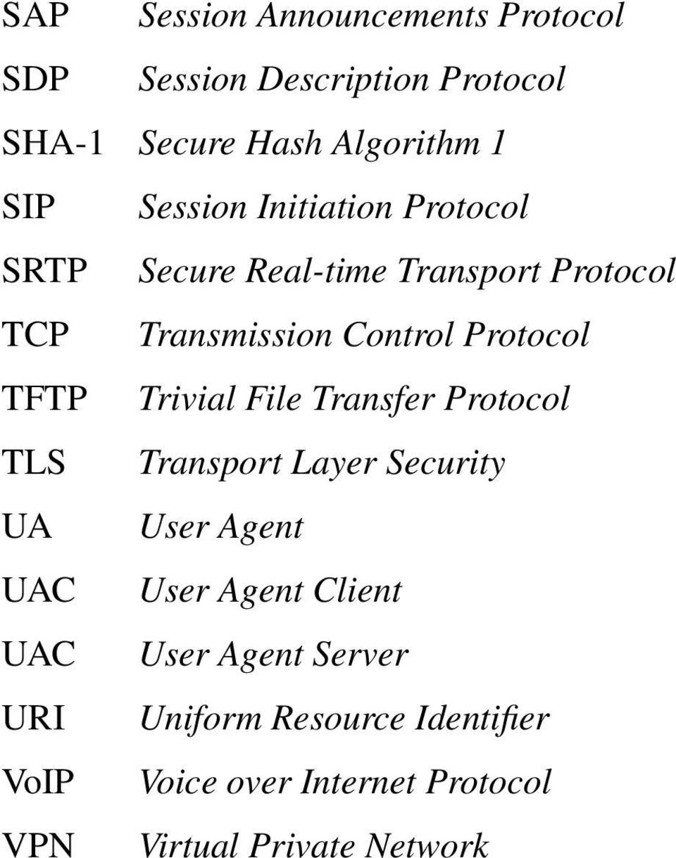 TFTP Trivial File Transfer Protocol TLS Transport Layer Security UA User Agent UAC User Agent Client UAC