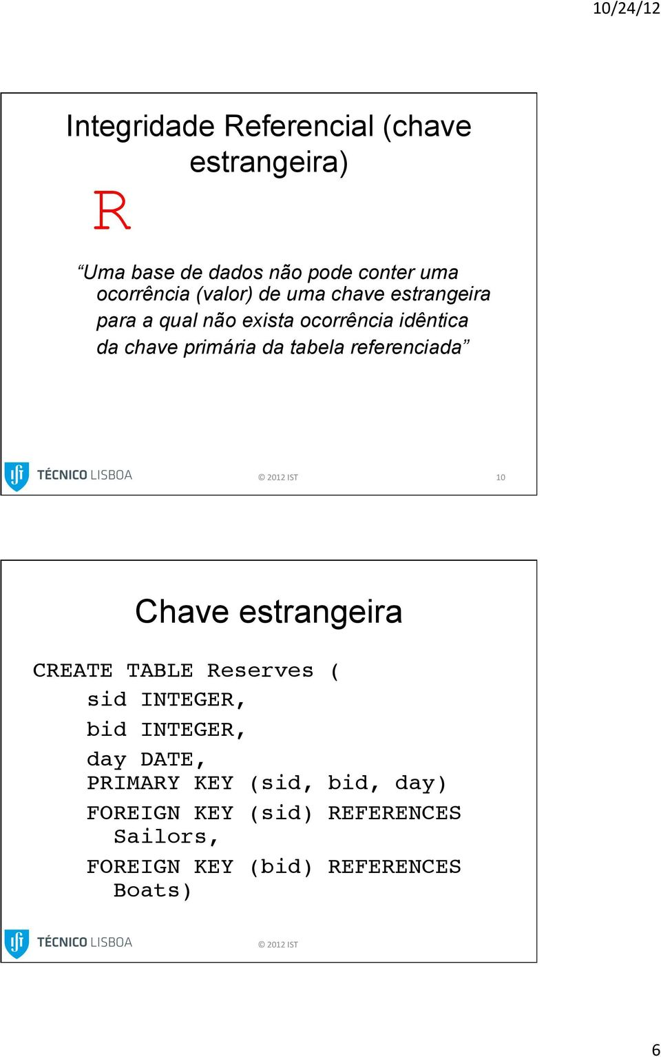 referenciada 10 Chave estrangeira CREATE TABLE Reserves (!!!!sid!integer,!!!!!bid!integer,!!!!!day DATE,!