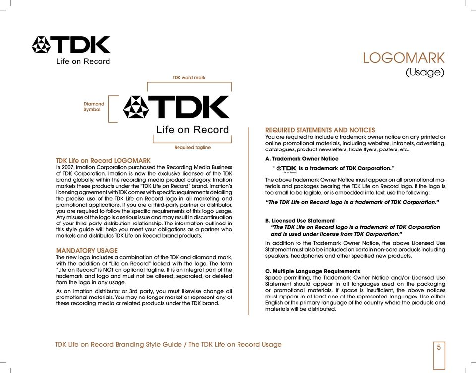 Imation s licensing agreement with TDK comes with specific requirements detailing the precise use of the TDK Life on Record logo in all marketing and promotional applications.