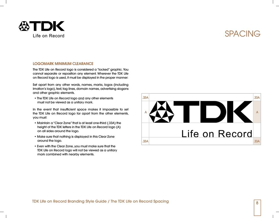 advertising slogans and other graphic elements. The TDK Life on Record logo and any other elements must not be viewed as a unitary mark.