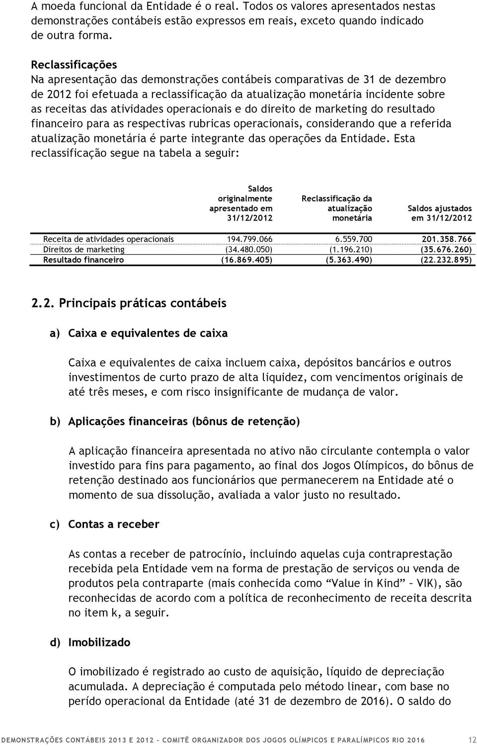 operacionais e do direito de marketing do resultado financeiro para as respectivas rubricas operacionais, considerando que a referida atualização monetária é parte integrante das operações da