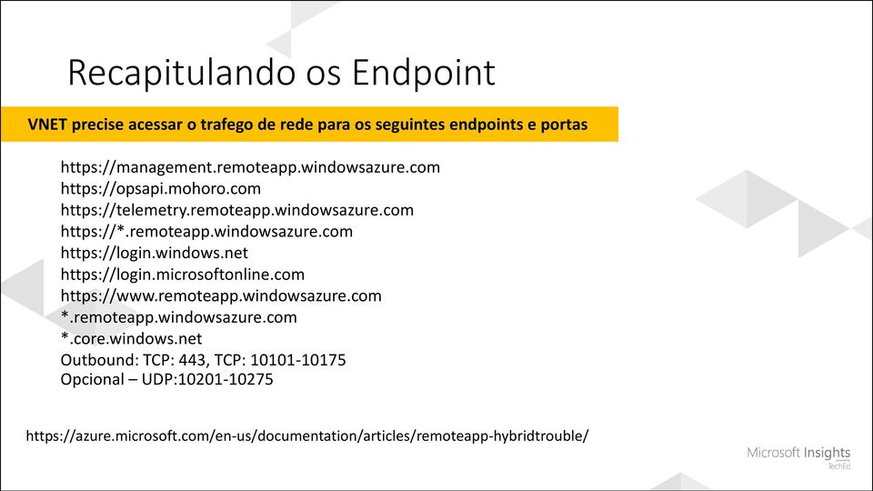 windows.net https://login.microsoftonline.com https://www.remoteapp.windowsazure.com *.remoteapp.windowsazure.com *.core.windows.net Outbound: TCP: 443, TCP: 10101-10175 Opcional UDP:10201-10275 https://azure.