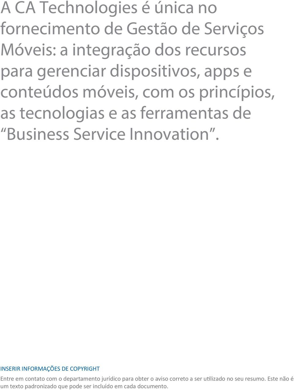 Business Service Innovation.