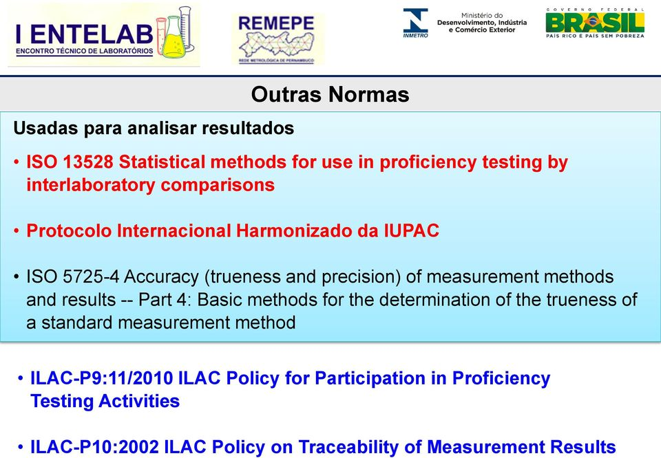 and results -- Part 4: Basic methods for the determination of the trueness of a standard measurement method ILAC-P9:11/2010