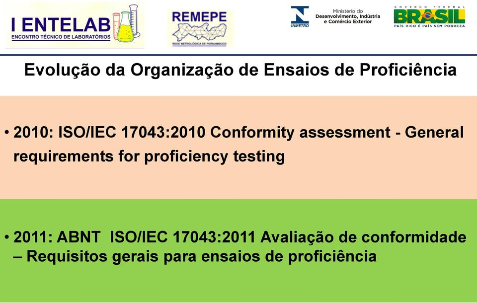 requirements for proficiency testing 2011: ABNT ISO/IEC