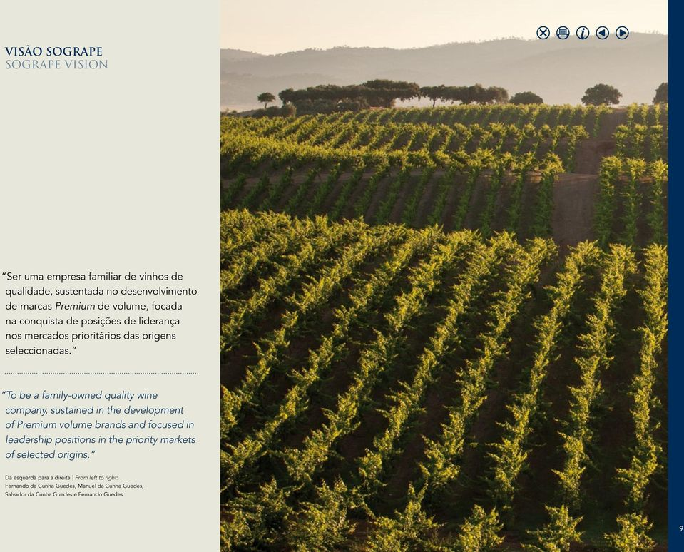 To be a family-owned quality wine company, sustained in the development of Premium volume brands and focused in leadership positions in the priority