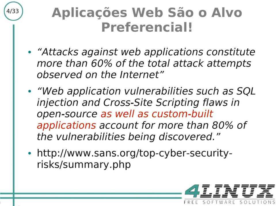 Internet Web application vulnerabilities such as SQL injection and Cross-Site Scripting flaws in