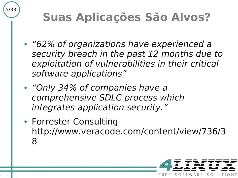 exploitation of vulnerabilities in their critical software applications Only 34% of