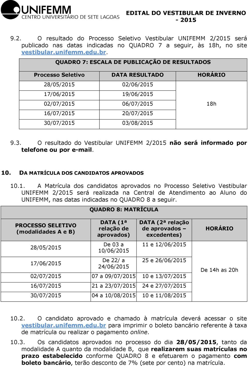 9.3. O resultado do Vestibular UNIFEMM 2/2015
