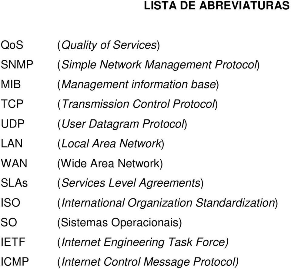 Protocol) (Local Area Network) (Wide Area Network) (Services Level Agreements) (International Organization