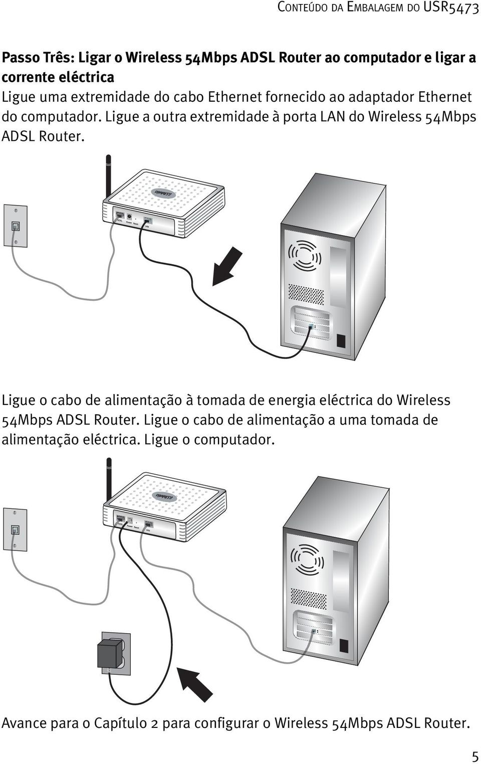 Ligue a outra extremidade à porta LAN do Wireless 54Mbps ADSL Router.