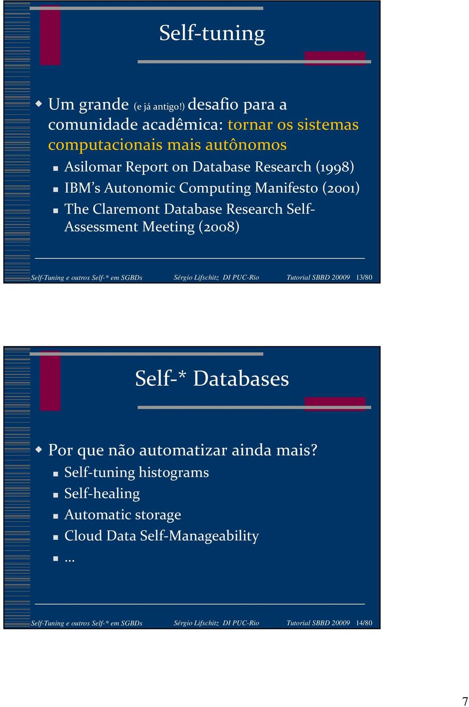 Computing Manifesto (2001) The Claremont Database Research Self- Assessment Meeting (2008) Self-Tuning e outros Self-* em SGBDs Sérgio Lifschitz DI