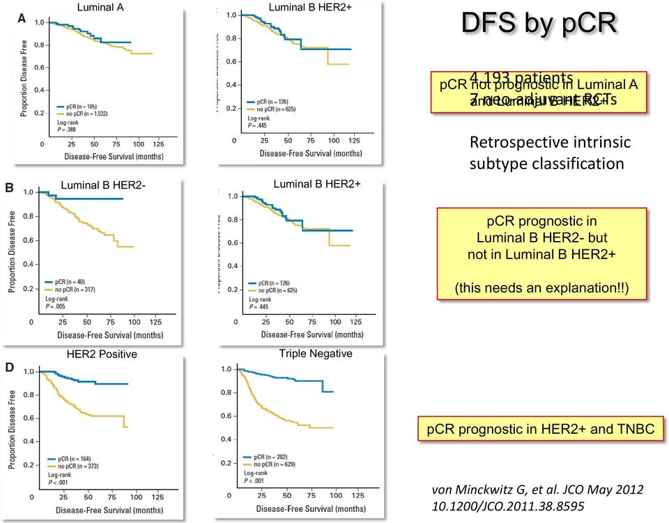 Luminal B HER2 Retrospective intrinsic subtype classification pcr prognostic in Luminal B HER2- but not