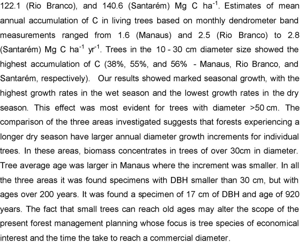 Our results showed marked seasonal growth, with the highest growth rates in the wet season and the lowest growth rates in the dry season. This effect was most evident for trees with diameter >50 cm.