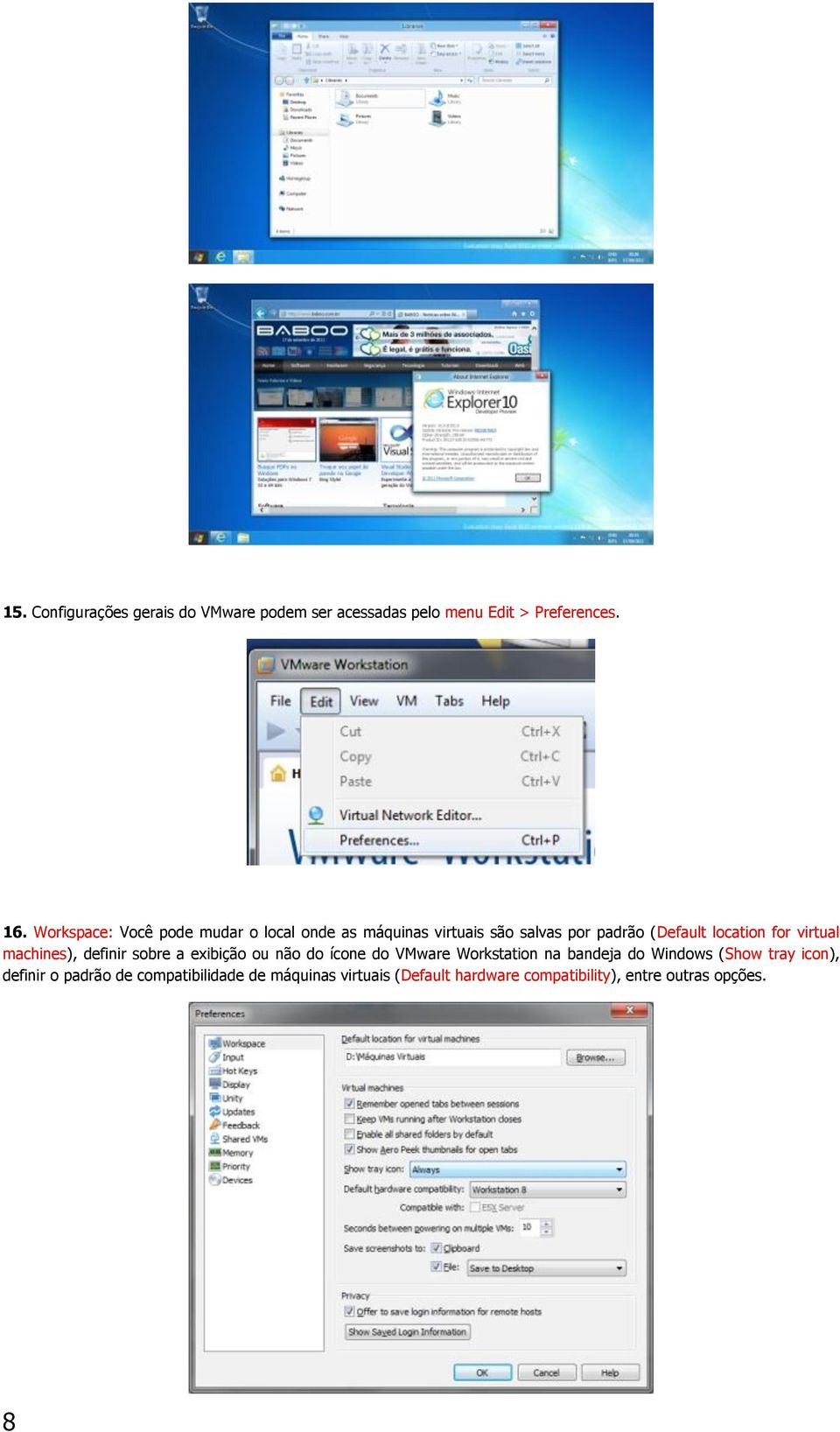 virtual machines), definir sobre a exibição ou não do ícone do VMware Workstation na bandeja do Windows