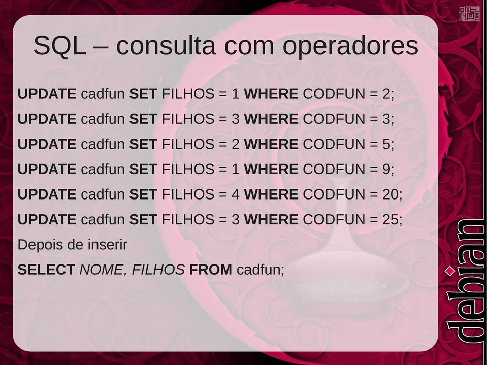 = 1 WHERE CODFUN = 9; UPDATE cadfun SET FILHOS = 4 WHERE CODFUN = 20; UPDATE cadfun