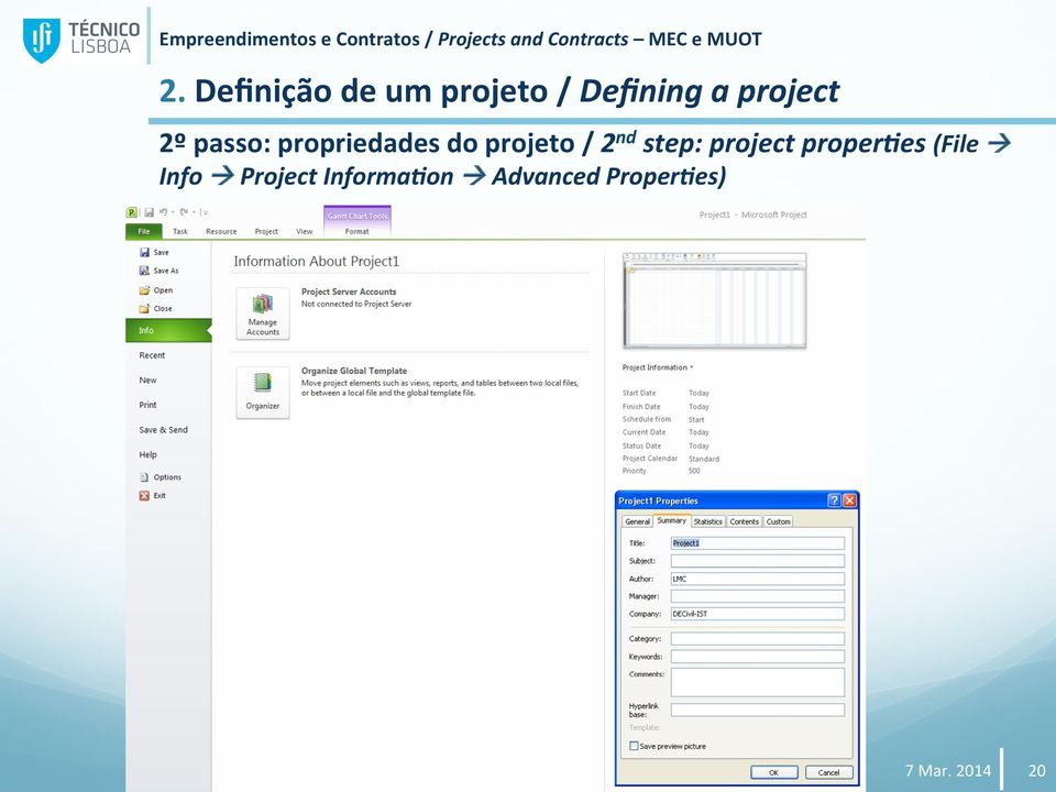 / 2 nd step: project proper9es (File Info