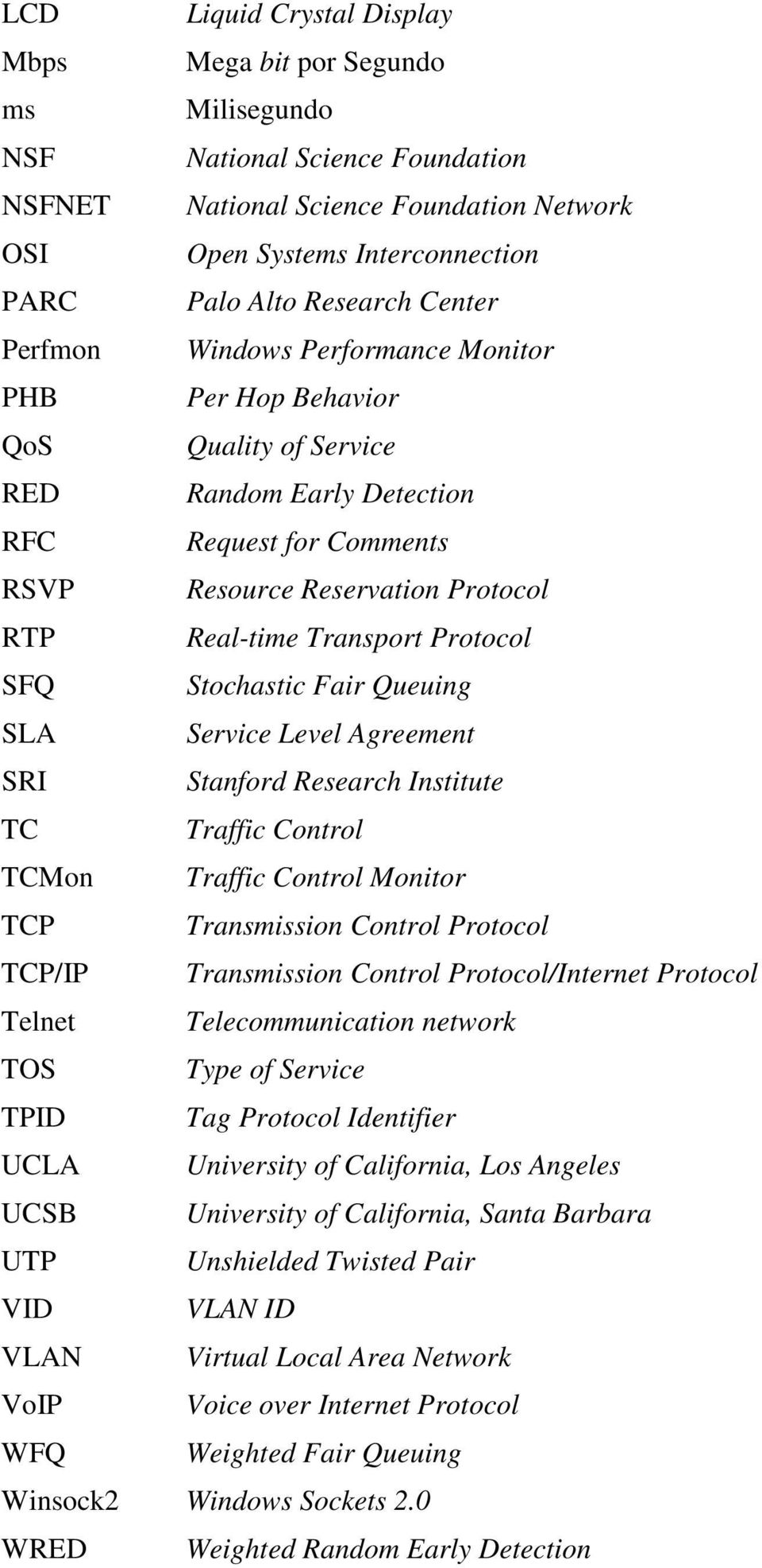 Protocol SFQ Stochastic Fair Queuing SLA Service Level Agreement SRI Stanford Research Institute TC Traffic Control TCMon Traffic Control Monitor TCP Transmission Control Protocol TCP/IP Transmission