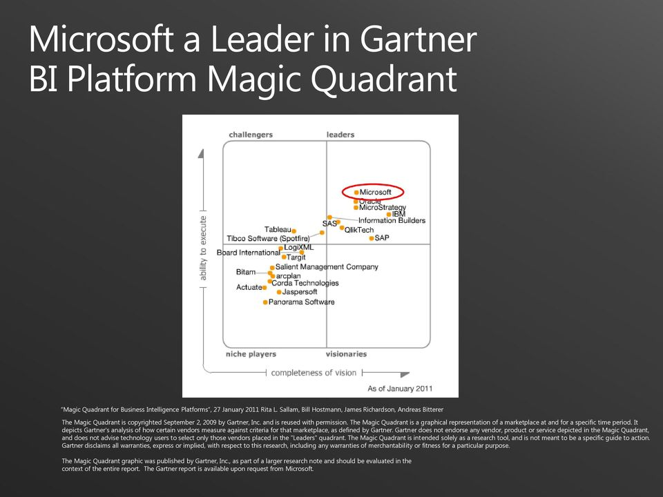 The Magic Quadrant is a graphical representation of a marketplace at and for a specific time period.